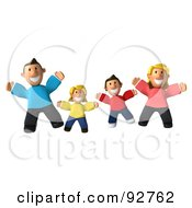 Royalty Free RF Clipart Illustration Of A 3d Happy Caucasian Family Jumping by Julos