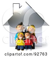 Royalty Free RF Clipart Illustration Of A 3d Happy Caucasian Family With A House 1 by Julos