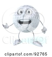 Royalty Free RF Clipart Illustration Of A 3d Golf Ball Character Smiling And Gesturing