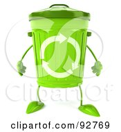 Royalty Free RF Clipart Illustration Of A 3d Green Recycle Bin Character Facing Forward by Julos