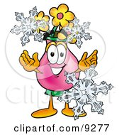 Vase Of Flowers Mascot Cartoon Character With Three Snowflakes In Winter