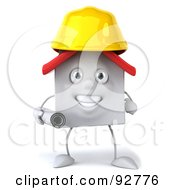 Royalty Free RF Clipart Illustration Of A 3d White Clay Home Character Architect 1