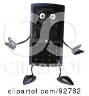 Royalty Free RF Clipart Illustration Of A 3d Black Modern Cellular Telephone Character Gesturing