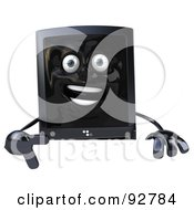 3d Computer Tower Character Over A Blank Sign