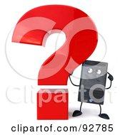 Royalty Free RF Clipart Illustration Of A 3d Computer Tower Character With A Question Mark 2