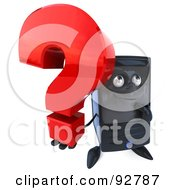 3d Computer Tower Character With A Question Mark - 1
