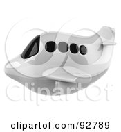 Royalty Free RF Clipart Illustration Of A 3d White Airliner With Tinted Windows Flying Left by Julos