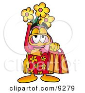 Vase Of Flowers Mascot Cartoon Character In Orange And Red Snorkel Gear