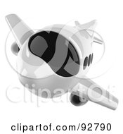 Royalty Free RF Clipart Illustration Of A 3d White Airliner With Tinted Windows Flying Front