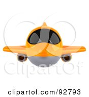 Royalty Free RF Clipart Illustration Of A 3d Orange Airliner With Tinted Windows Flying Front