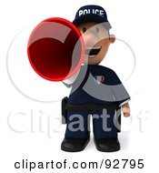 Royalty Free RF Clipart Illustration Of A 3d Police Toon Guy Announcing 3 by Julos