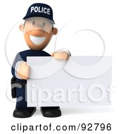 3d Police Toon Guy With A Blank Sign - 3