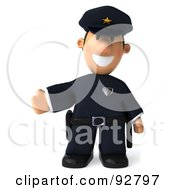 Royalty Free RF Clipart Illustration Of A 3d Police Toon Guy Gesturing Left