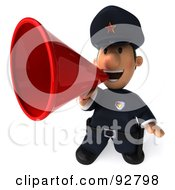 Royalty Free RF Clipart Illustration Of A 3d Police Toon Guy Announcing 1