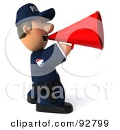 Royalty Free RF Clipart Illustration Of A 3d Police Toon Guy Announcing 5