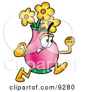 Vase Of Flowers Mascot Cartoon Character Running by Toons4Biz