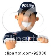 3d Police Toon Guy With A Blank Sign - 2