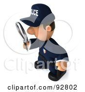 3d Police Toon Guy Using A Magnifying Glass - 1