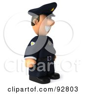 Royalty Free RF Clipart Illustration Of A 3d Police Toon Guy Facing Right