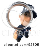 3d Police Toon Guy Using A Magnifying Glass - 2