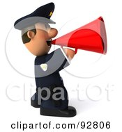 Royalty Free RF Clipart Illustration Of A 3d Police Toon Guy Announcing 2 by Julos