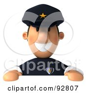 Royalty Free RF Clipart Illustration Of A 3d Police Toon Guy With A Blank Sign 1 by Julos