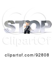 Royalty Free RF Clipart Illustration Of A 3d Police Toon Guy With Stop 2 by Julos