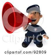 Royalty Free RF Clipart Illustration Of A 3d Police Toon Guy Announcing 4 by Julos