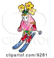 Clipart Picture Of A Vase Of Flowers Mascot Cartoon Character Skiing Downhill by Toons4Biz