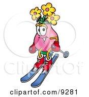 Vase Of Flowers Mascot Cartoon Character Skiing Downhill