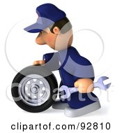 Royalty Free RF Clipart Illustration Of A 3d Toon Guy Auto Mechanic With A Tire 3 by Julos
