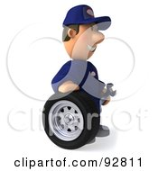 Royalty Free RF Clipart Illustration Of A 3d Toon Guy Auto Mechanic With A Tire 2 by Julos