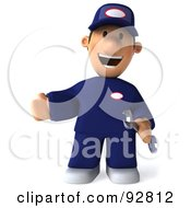 Royalty Free RF Clipart Illustration Of A 3d Toon Guy Auto Mechanic Gesturing Front
