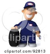 Royalty Free RF Clipart Illustration Of A 3d Toon Guy Auto Mechanic With A Tire 1