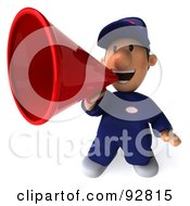 Royalty Free RF Clipart Illustration Of A 3d Toon Guy Auto Mechanic Announcing