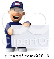 Royalty Free RF Clipart Illustration Of A 3d Toon Guy Auto Mechanic With A Blank Sign 2
