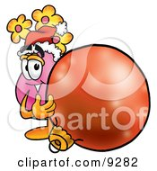 Vase Of Flowers Mascot Cartoon Character Wearing A Santa Hat Standing With A Christmas Bauble