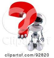 3d Techno Robot Character With A Question Mark - 1