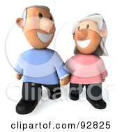 Royalty Free RF Clipart Illustration Of A 3d Senior Couple Together 2