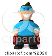 Royalty Free RF Clipart Illustration Of A 3d Business Toon Guy Super Hero 1