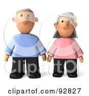 Royalty Free RF Clipart Illustration Of A 3d Senior Couple Together 1 by Julos