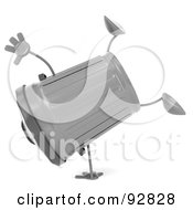 Royalty Free RF Clipart Illustration Of A 3d Trash Can Character Doing A Hand Stand