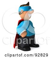 Royalty Free RF Clipart Illustration Of A 3d Business Toon Guy Super Hero 2