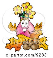 Vase Of Flowers Mascot Cartoon Character With Autumn Leaves And Acorns In The Fall