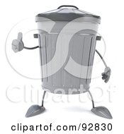 Royalty Free RF Clipart Illustration Of A 3d Trash Can Character With A Thumb Up by Julos