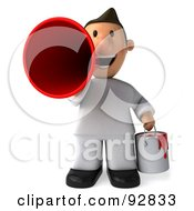 Royalty Free RF Clipart Illustration Of A 3d Toon Guy House Painter Announcing 1