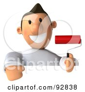 Royalty Free RF Clipart Illustration Of A 3d Toon Guy House Painter With A Sign 2 by Julos