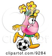 Vase Of Flowers Mascot Cartoon Character Kicking A Soccer Ball by Toons4Biz