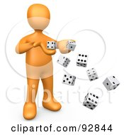 3d Orange Person Tossing Many Dice Symbolizing Chance And Risk
