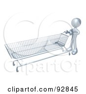Royalty Free RF Clipart Illustration Of A 3d Silver Person Pushing A Very Long Shopping Cart In A Store